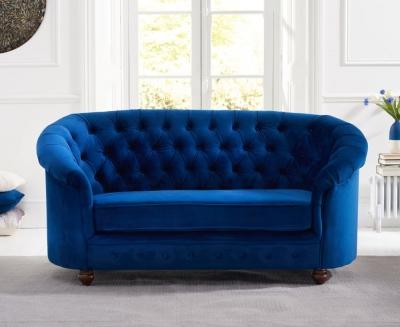 Mark Harris Casey Chesterfield Blue Plush Fabric 2 Seater Sofa