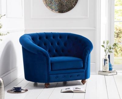 Mark Harris Casey Chesterfield Blue Plush Fabric Armchair