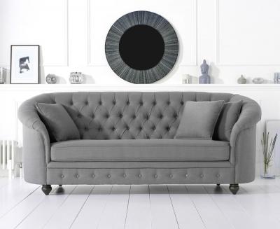 Mark Harris Casey Chesterfield Grey Linen Fabric 3 Seater Sofa