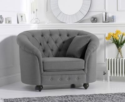 Mark Harris Casey Chesterfield Grey Linen Fabric Armchair
