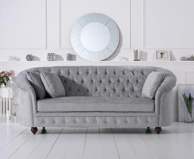 Mark Harris Casey Chesterfield Grey Plush Fabric 3 Seater Sofa
