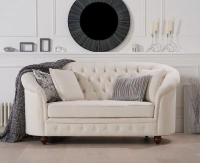 Mark Harris Casey Chesterfield Ivory Linen Fabric 2 Seater Sofa