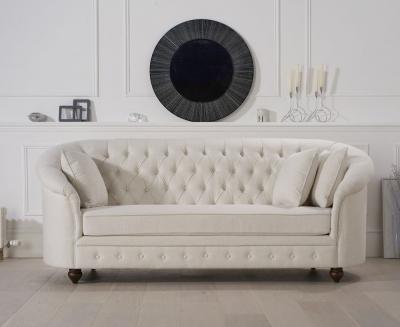 Mark Harris Casey Chesterfield Ivory Linen Fabric 3 Seater Sofa