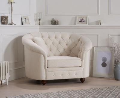 Mark Harris Casey Ivory Linen Fabric Armchair