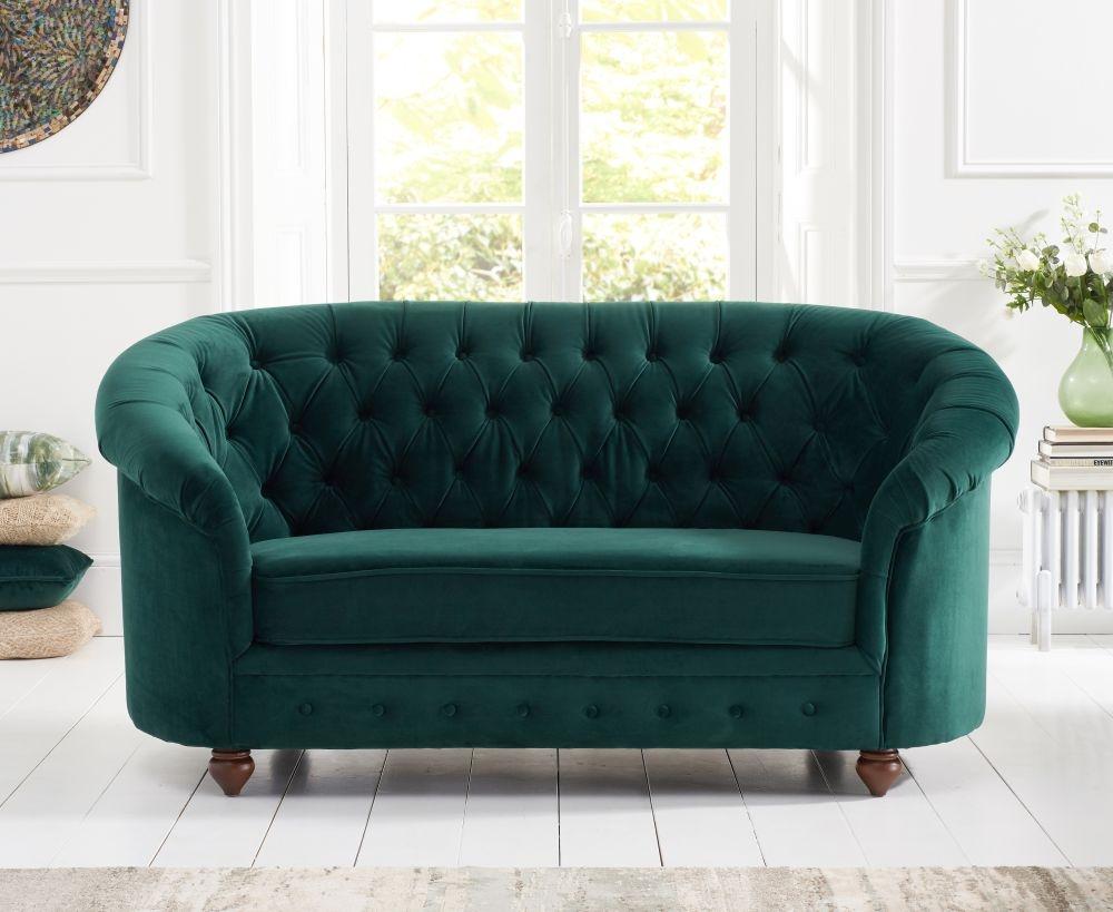 Mark Harris Casey Chesterfield Green Plush Fabric 2 Seater Sofa