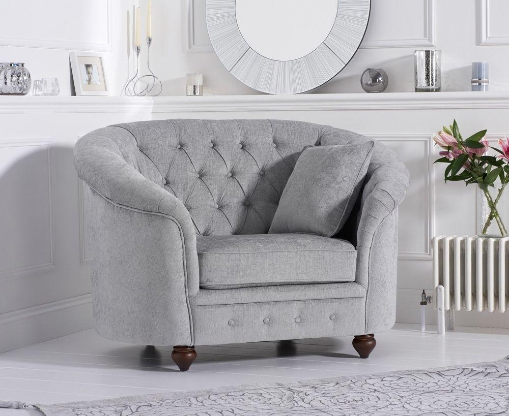 Mark Harris Casey Chesterfield Grey Plush Fabric Armchair