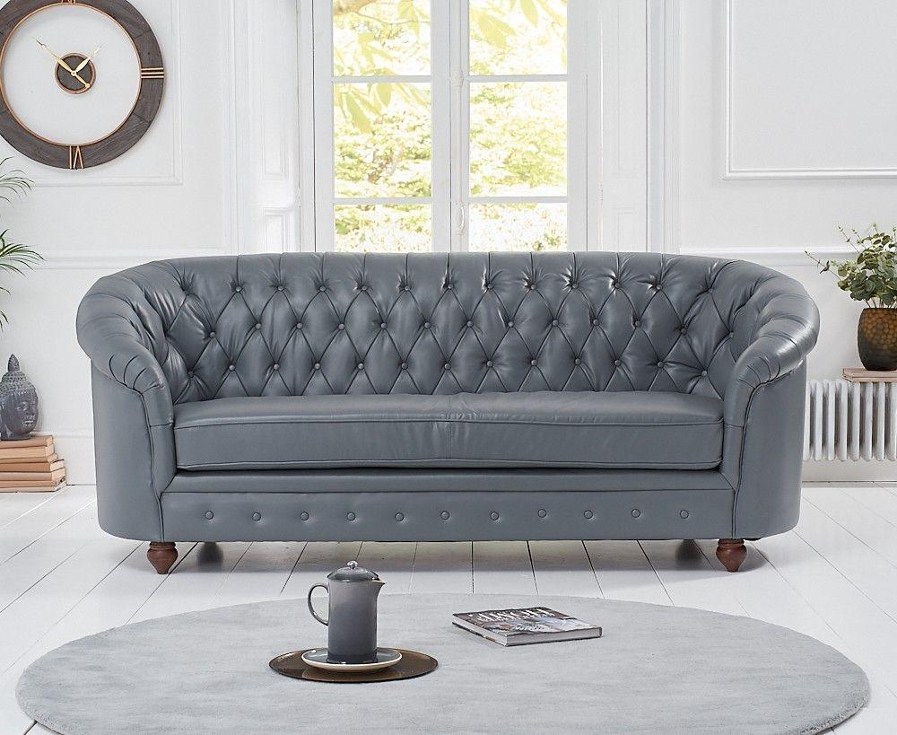 Mark Harris Casey Grey Leather 3 Seater Sofa