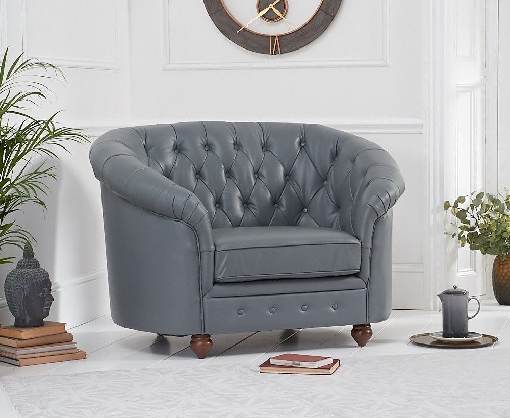 Mark Harris Casey Grey Leather Armchair