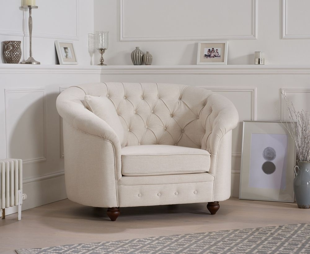Mark Harris Casey Ivory Linen Fabric Armchair