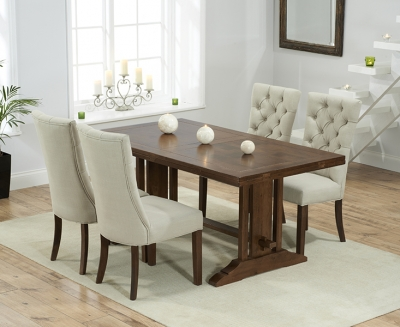 Mark Harris Cavanaugh Solid Dark Oak 165cm Extending Dining Table with 4 Albury Beige Chairs
