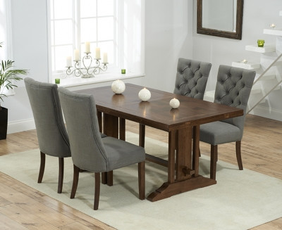 Mark Harris Cavanaugh Solid Dark Oak 165cm Extending Dining Table with 4 Albury Grey Chairs