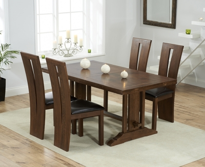 Mark Harris Cavanaugh Solid Dark Oak 165cm Extending Dining Set with 4 Arizon Brown Dining Chairs