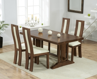 Mark Harris Cavanaugh Solid Dark Oak 165cm Extending Dining Table with 4 Havana Cream Chairs