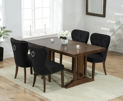 Mark Harris Cavanaugh Solid Dark Oak 165cm Extending Dining Table with 4 Kalim Black Chairs