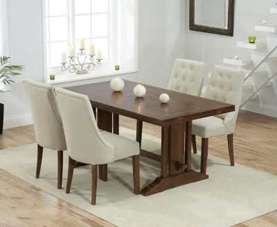 Mark Harris Cavanaugh Solid Dark Oak 165cm Extending Dining Table with 4 Pailin Beige Chairs