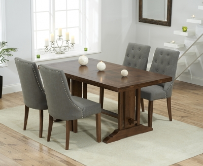 Mark Harris Cavanaugh Solid Dark Oak 165cm Extending Dining Table with 4 Pailin Grey Chairs