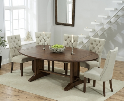 Mark Harris Cavanaugh Solid Dark Oak 165cm Extending Dining Table with 6 Albury Beige Chairs