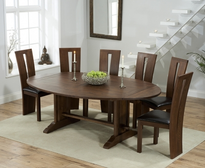 Mark Harris Cavanaugh Solid Dark Oak 165cm Extending Dining Table with 6 Arizon Brown Chairs