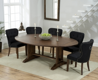 Mark Harris Cavanaugh Solid Dark Oak 165cm Extending Dining Table with 6 Kalim Black Chairs