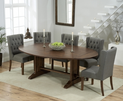 Mark Harris Cavanaugh Solid Dark Oak 165cm Extending Dining Table with 6 Stefini Grey Chairs