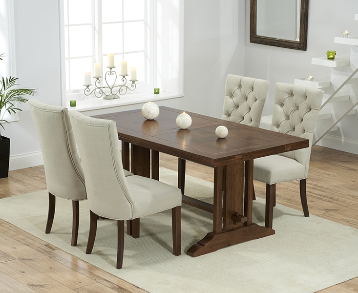 Mark Harris Cavanaugh Solid Dark Oak 165cm Extending Dining Table with 4 Albury Beige Chairs