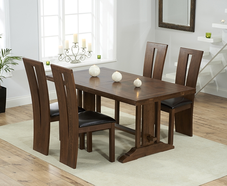 Mark Harris Cavanaugh Solid Dark Oak 165cm Extending Dining Table with 4 Arizon Brown Chairs