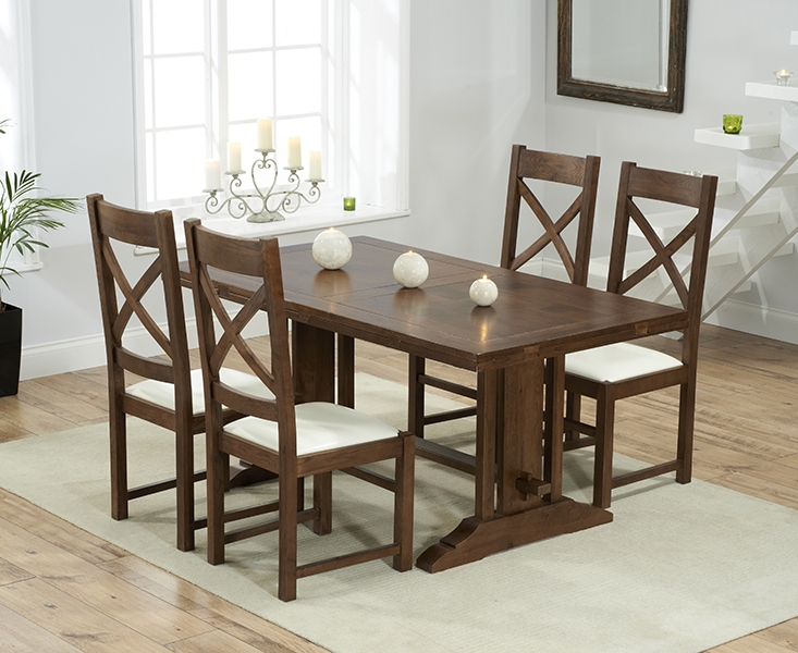 Mark Harris Cavanaugh Solid Dark Oak 165cm Extending Dining Table with 4 Centerbury Cream Chairs