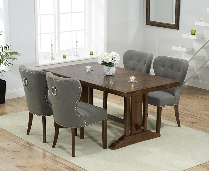 Mark Harris Cavanaugh Solid Dark Oak 165cm Extending Dining Table with 4 Kalim Grey Chairs