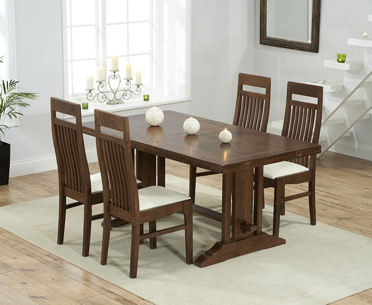 Mark Harris Cavanaugh Solid Dark Oak 165cm Extending Dining Set with 4 Monte Carlo Cream Dining Chairs