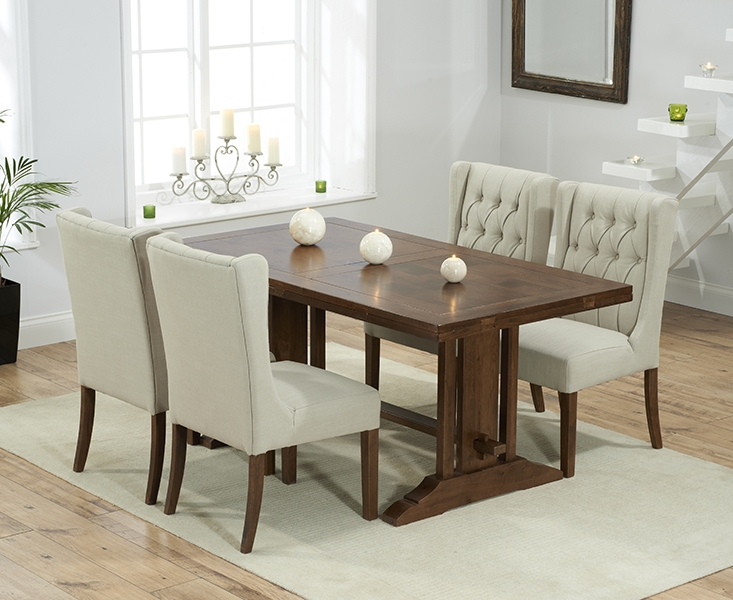 Mark Harris Cavanaugh Solid Dark Oak 165cm Extending Dining Table with 4 Stefini Beige Chairs