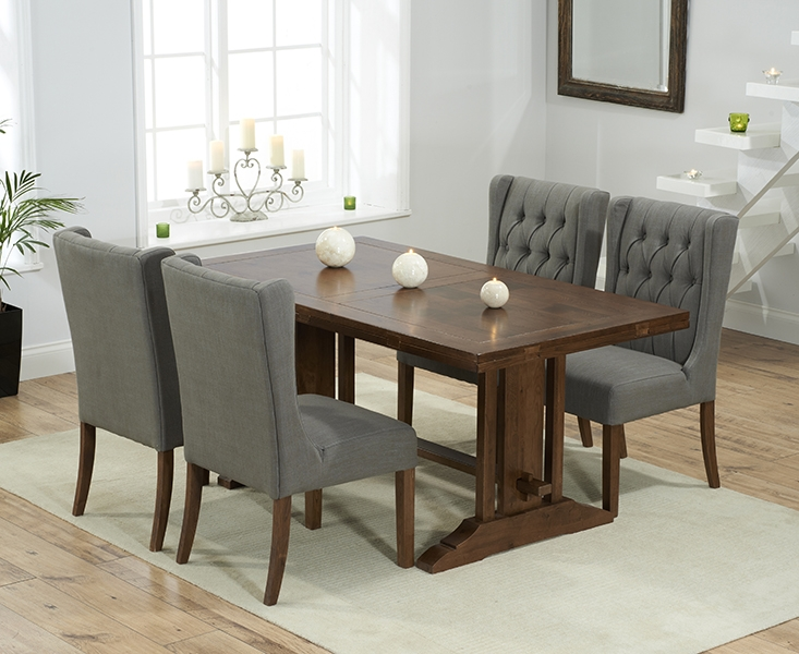 Mark Harris Cavanaugh Solid Dark Oak 165cm Extending Dining Table with 4 Stefini Grey Chairs