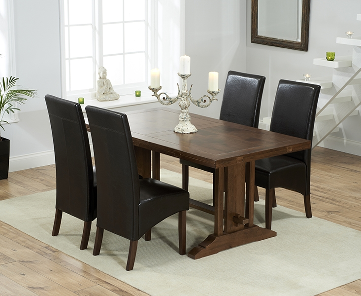 Mark Harris Cavanaugh Solid Dark Oak 165cm Extending Dining Set with 4 WNG Brown Dining Chairs
