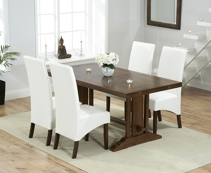 Mark Harris Cavanaugh Solid Dark Oak 165cm Extending Dining Table with 4 WNG Ivory Chairs