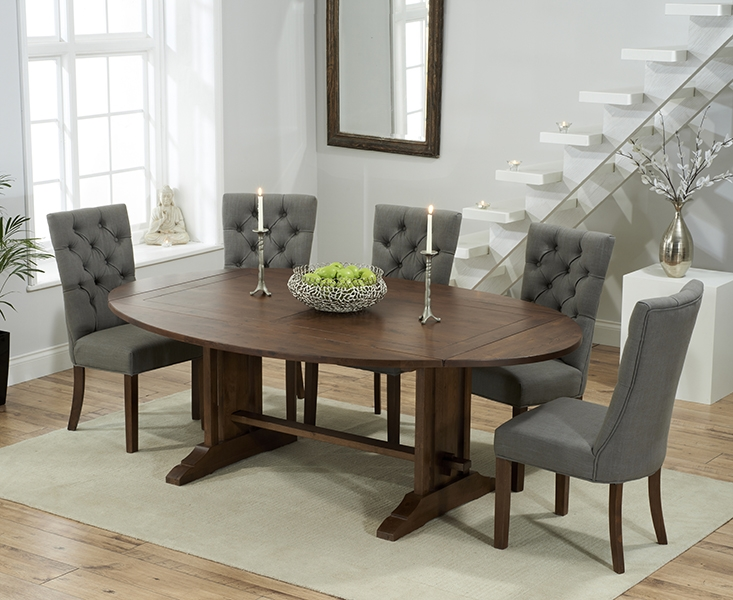 Mark Harris Cavanaugh Solid Dark Oak 165cm Extending Dining Table with 6 Albury Grey Chairs