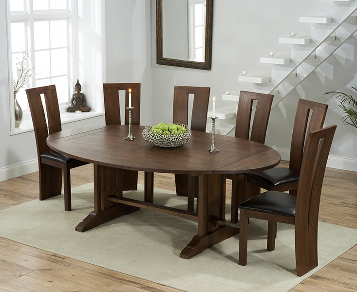 Mark Harris Cavanaugh Solid Dark Oak 165cm Extending Dining Set with 6 Arizon Brown Dining Chairs