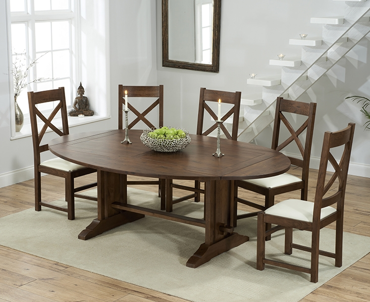 Mark Harris Cavanaugh Solid Dark Oak 165cm Extending Dining Table with 6 Centerbury Cream Chairs