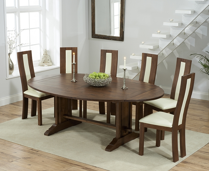 Mark Harris Cavanaugh Solid Dark Oak 165cm Extending Dining Table with 6 Havana Cream Chairs