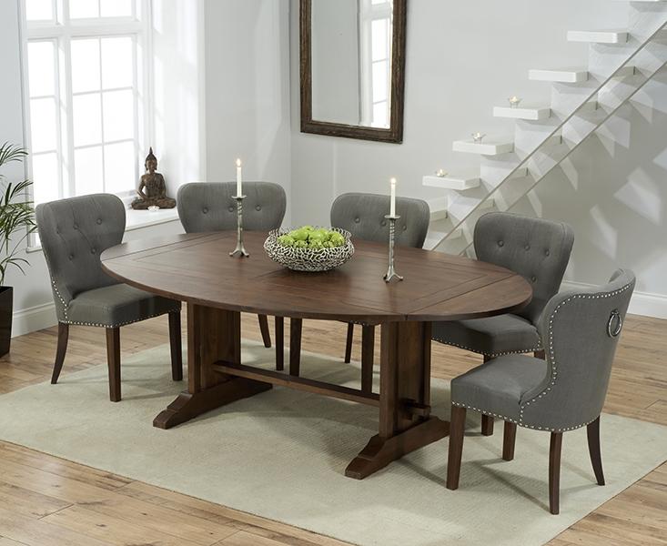 Mark Harris Cavanaugh Solid Dark Oak 165cm Extending Dining Set with 6 Kalim Grey Dining Chairs