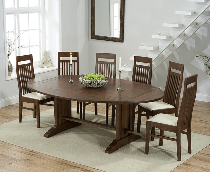 Mark Harris Cavanaugh Solid Dark Oak 165cm Extending Dining Set with 6 Monte Carlo Cream Dining Chairs