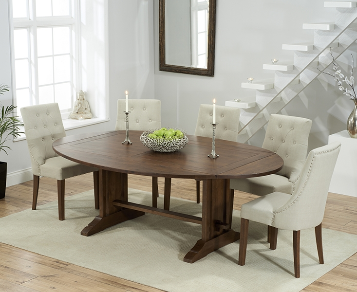 Mark Harris Cavanaugh Solid Dark Oak 165cm Extending Dining Table with 6 Pailin Beige Chairs