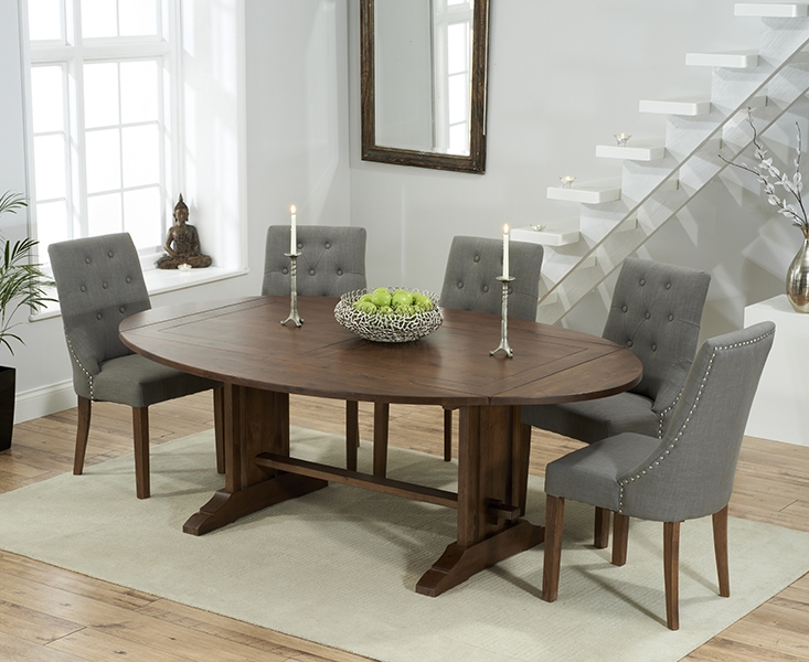 Mark Harris Cavanaugh Solid Dark Oak 165cm Extending Dining Set with 6 Pailin Grey Dining Chairs