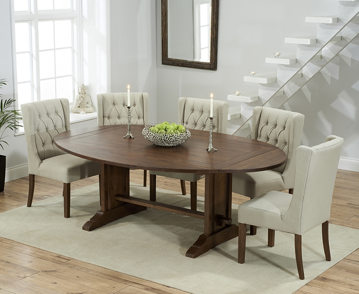 Mark Harris Cavanaugh Solid Dark Oak 165cm Extending Dining Set with 6 Stefini Beige Dining Chairs