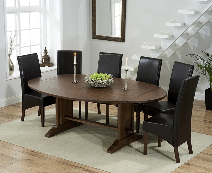 Mark Harris Cavanaugh Solid Dark Oak 165cm Extending Dining Table with 6 WNG Brown Chairs