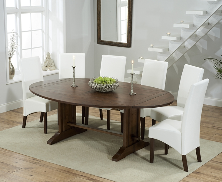 Mark Harris Cavanaugh Solid Dark Oak 165cm Extending Dining Set with 6 WNG Ivory Dining Chairs