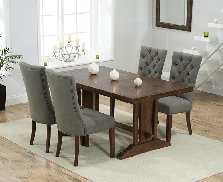 Mark Harris Cavanaugh Solid Dark Oak Dining Set - 165cm Rectangular Extending with 4 Albury Grey Chairs
