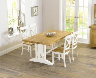 Mark Harris Cavanaugh Oak and Cream 165cm Extending Dining Table with 4 Cavanaugh Chairs