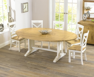 Mark Harris Cavanaugh Oak and Cream 165cm Extending Dining Set with 6 Cavanaugh Dining Chairs