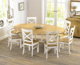 Mark Harris Cavanaugh Oak and Cream 165cm Extending Dining Set with 8 Cavanaugh Dining Chairs