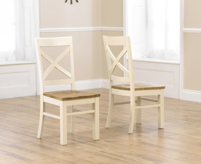 Mark Harris Cavanaugh Oak and Cream Dining Chair (Pair)