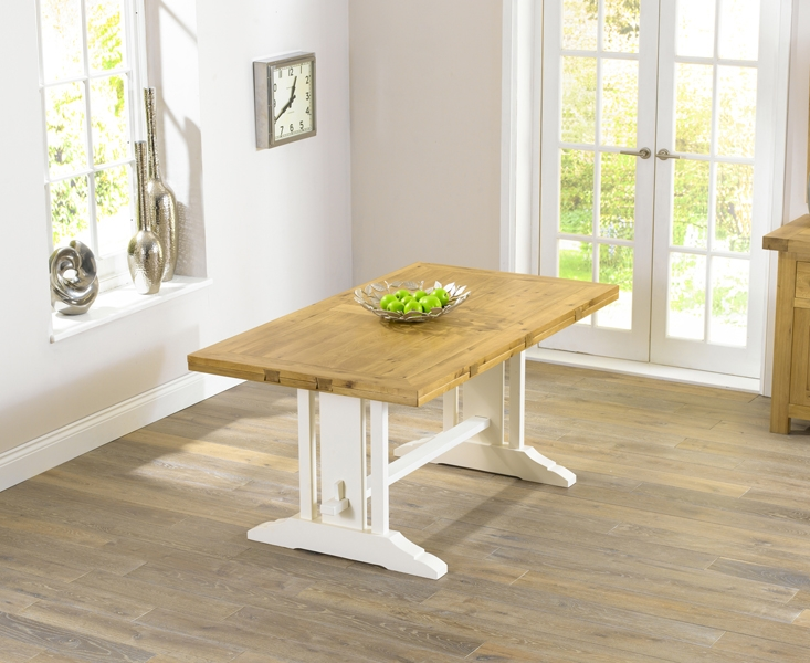 Mark Harris Cavanaugh Oak and Cream Dining Table - 165cm Rectangular Extending